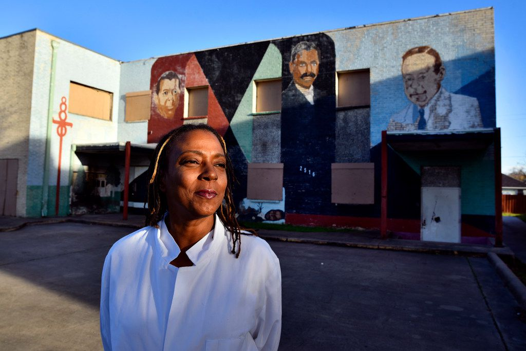 Dr. Michelle Morgan outside an abandoned building she purchased on Martin Luther King Jr. Boulevard in Dallas. The building used to be Forest Avenue Hospital and Morgan plans to bring some of those medical services back to South Dallas.