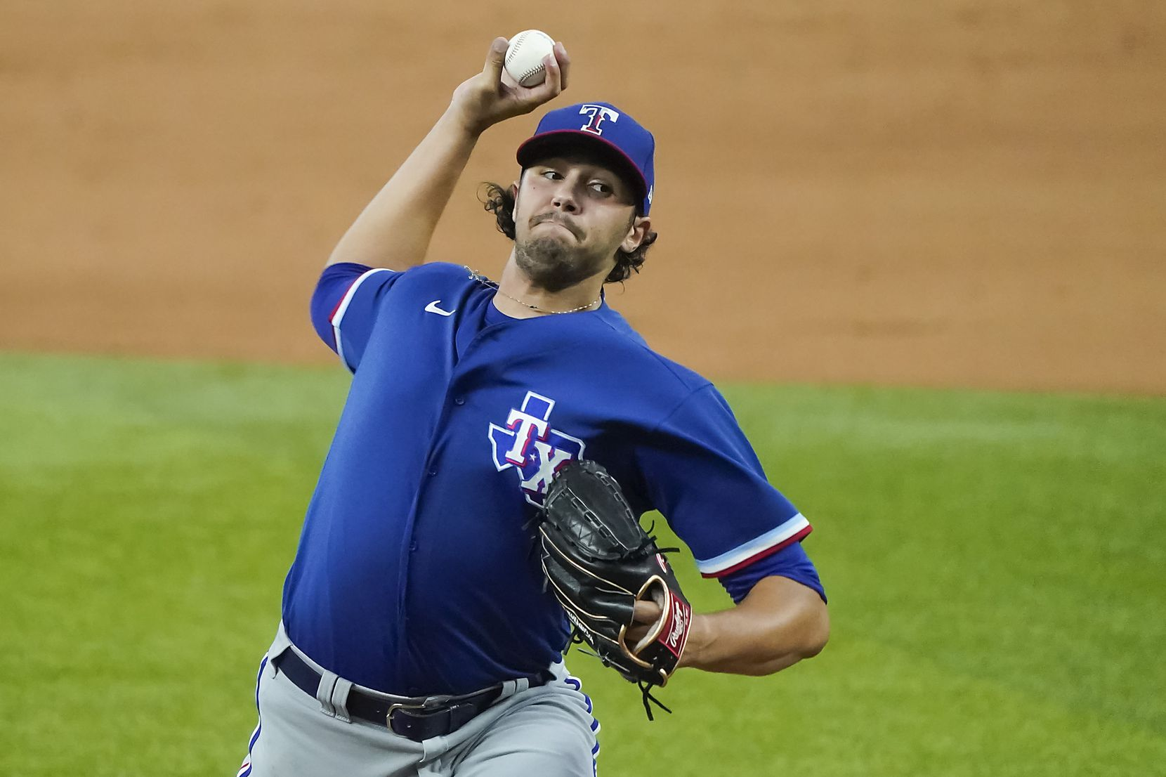 Texas Rangers pitcher Tyler Phillips delivers during a game between players at the team's alternate training site at Globe Life Field on Saturday, Sept. 19, 2020. (Smiley N. Pool/The Dallas Morning News)