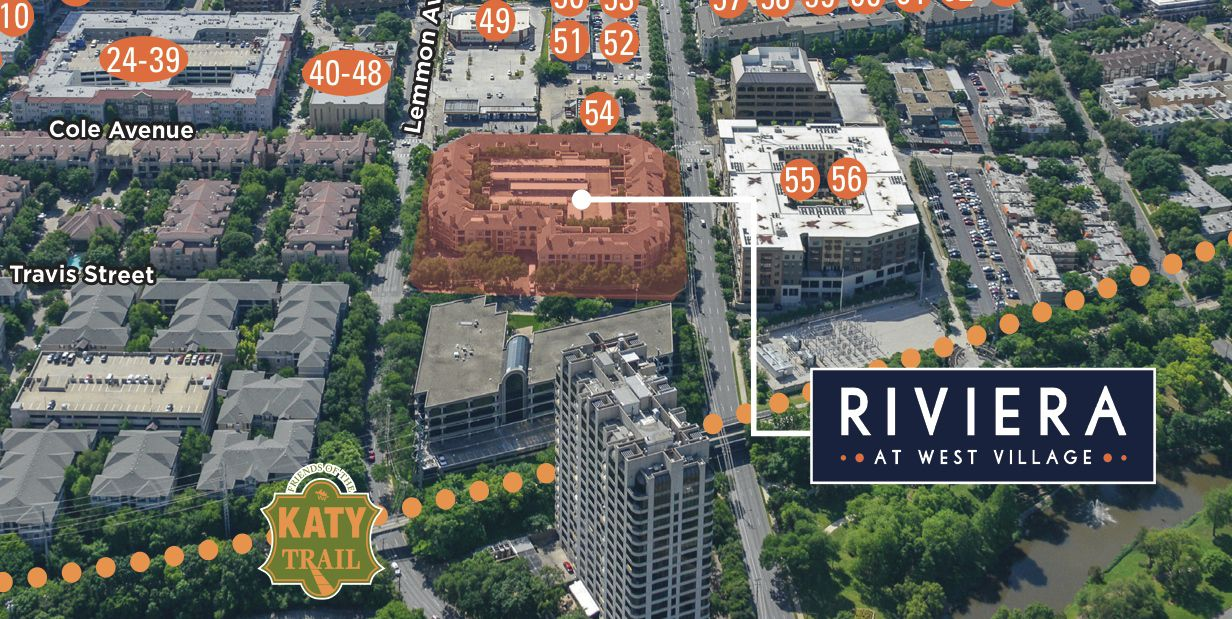The Riviera apartments are near the Katy Trail and Turtle Creek.