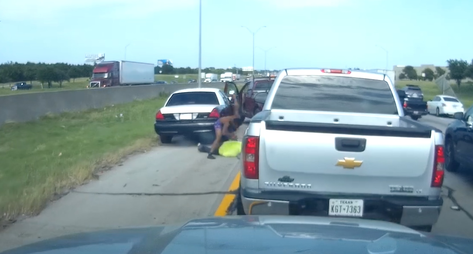 The incident took place along Interstate 20 in southern Dallas about 5:30 p.m. Wednesday.