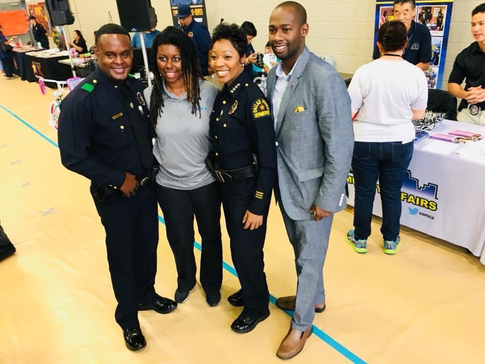 "DPD community affairs director Joli Robinson (second from left) with, from left, Assistant Chief of Police Avery Moore, Police Chief U. Reneé Hall and Hall's former chief of staff, Thomas Taylor, at a December 2018 ""chief on the beat"" event."