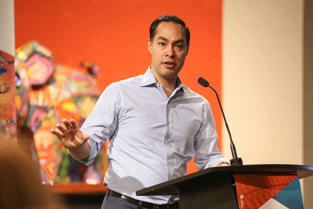 Presidential candidate Julian Castro spoke at a campaign fundraiser Monday at Mercado 369 in Dallas.
