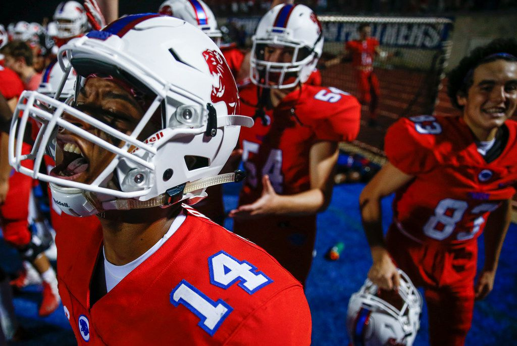 Parish Episcopal's Daniel Demery celebrates from the sideline after a Panther touchdown during a high school football game between Parish Episcopal and Trinity Christian-Cedar Hill on Thursday, Sept. 5, 2019 in Dallas. (Ryan Michalesko/The Dallas Morning News)