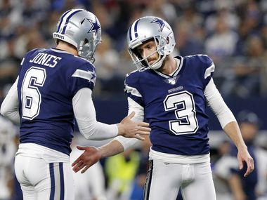 Dallas Cowboys holder Chris Jones (6) congratulates new kicker Kai Forbath (3) on his second half field goal against the Los Angeles Rams at AT&T Stadium in Arlington, Texas, Sunday, December 15, 2019. The Cowboys defeated the Rams, 44-21.
