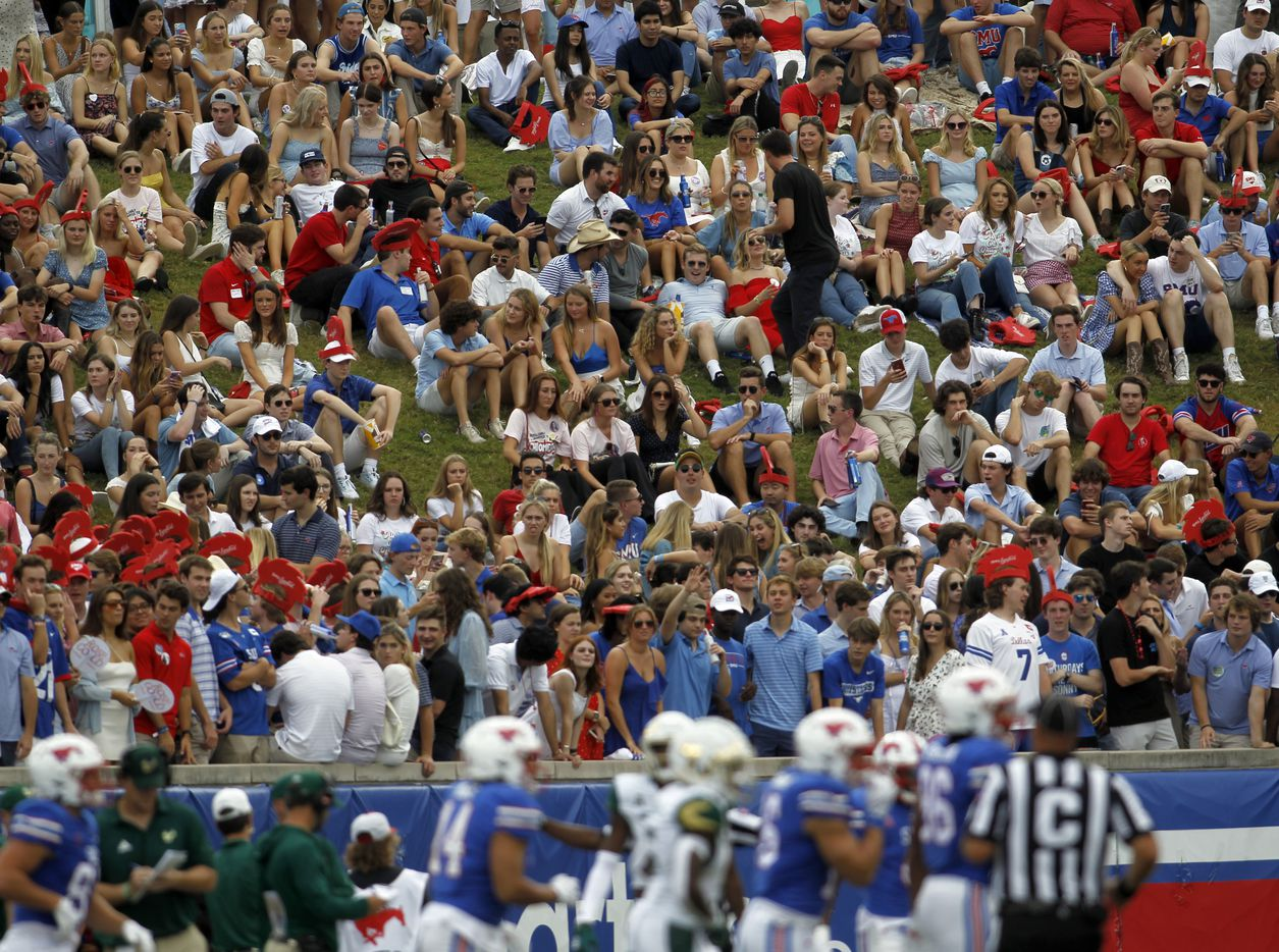 SMU fans fill the grassy hill beyond the south end zone during first half action of the SMU versus South Florida game. The two teams played their NCAA football game at SMU's Ford Stadium in Dallas on October 2, 2021. (Steve Hamm/ Special Contributor)