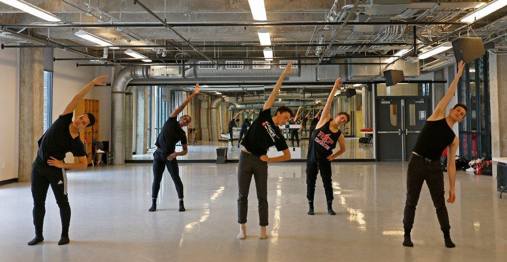 From left, Michael Garcia, Ricardo Hartley, Kade Cummings, Zane Unger and Todd Baker warm up in the dance studio at Booker T. Washington High School for the Performing and Visual Arts in Dallas, Thursday, May 11, 2017. They have been accepted to attend the Juilliard School in New York City.