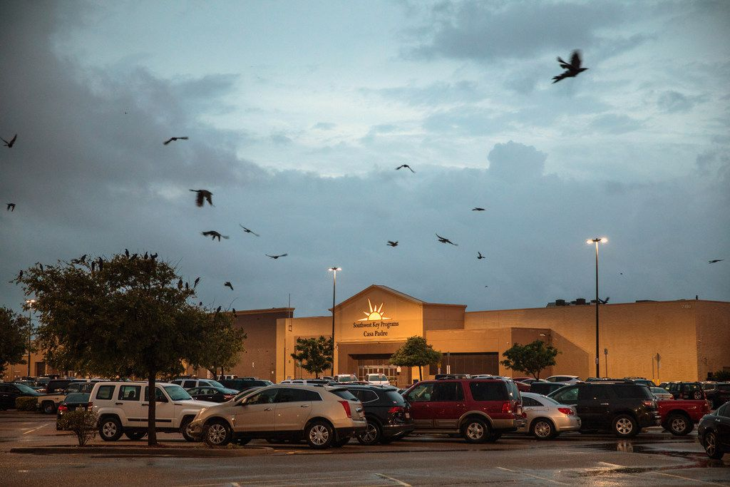 Casa Padre, a shelter run by Southwest Key Programs to house about 1,500 immigrant children in a converted Walmart store in Brownsville, Texas, is pictured on June 19, 2018. Southwest Key is one of about a dozen contractors operating more than 30 shelters in Texas alone.