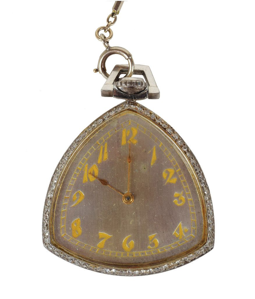 Al Capone's platinum rounded triangular pocket watch made by the Illinois Watch Company.