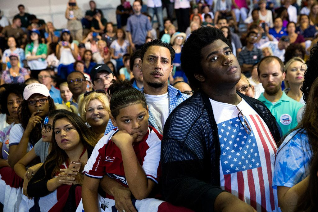 Attendees at Hillary Clinton's campaign rally at Palm Beach State College in Lake Worth, Fla., Oct. 26, 2016.  (Doug Mills/The New York Times)