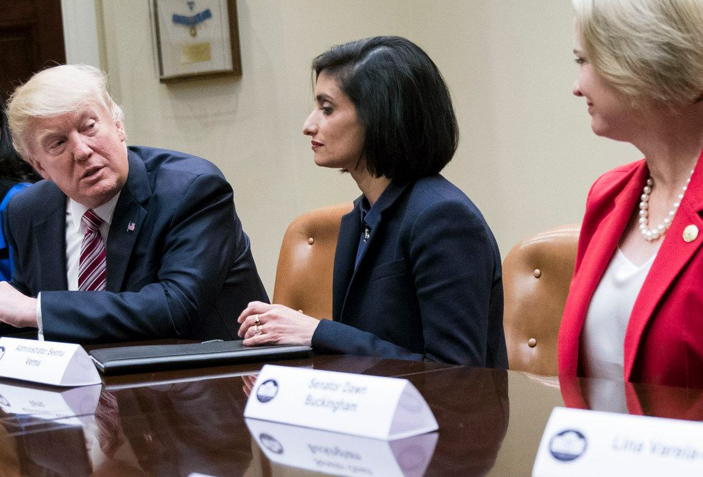 FILE-- President Donald Trump during a Women in Healthcare€ panel, hosted by Seema Verma, center, administrator of the Centers for Medicare and Medicaid Services, at the White House in Washington, March 22, 2017. The Trump administration said Jan. 11, 2018, that it would allow states to impose work requirements in Medicaid, a major policy shift in the health program for low-income people. (Doug Mills/The New York Times)