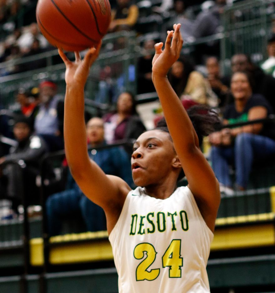 DeSoto's Ariyanna Hines (24) puts up a long range shot during second half action against South Grand Prairie. The two teams played their District 7-6A girls basketball game at DeSoto High School in DeSoto on January 21, 2020.