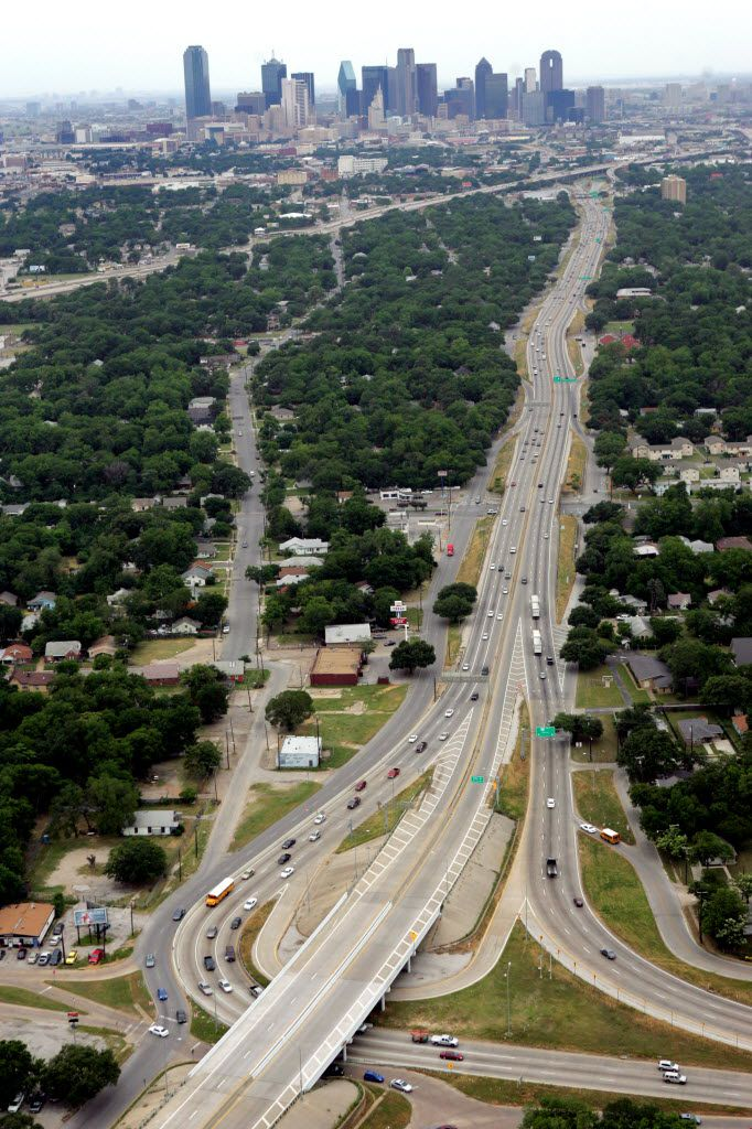 """Dead Man's Corner"" (or Dead Man's Curve) on U.S. 175 is where C.F. Hawn Freeway (bottom, far right) curved sharply to become S.M. Wright Freeway (vertical line going north towards Dallas), which later connects to Interstate 45 (angle across top of the photo). The area has been under construction for several years."