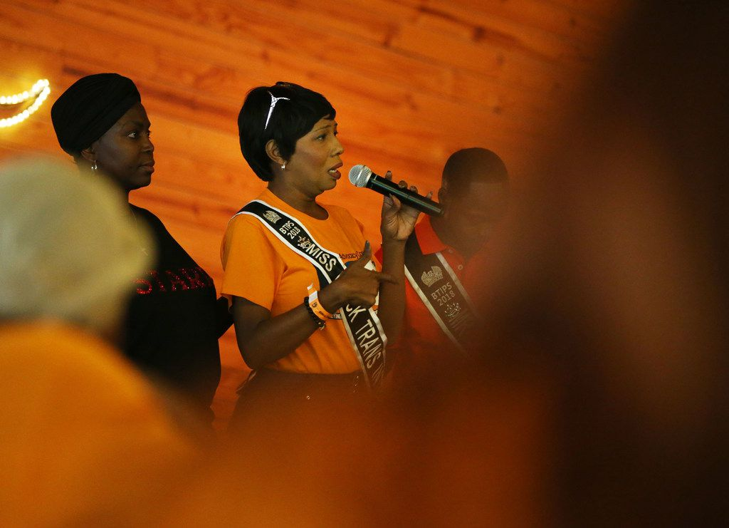 Malaysia Black, Miss Black Trans International, gives a speech during the Black Trans Advocacy Coalition's Family Picnic at Circle R Ranch in Flower Mound on April 28.