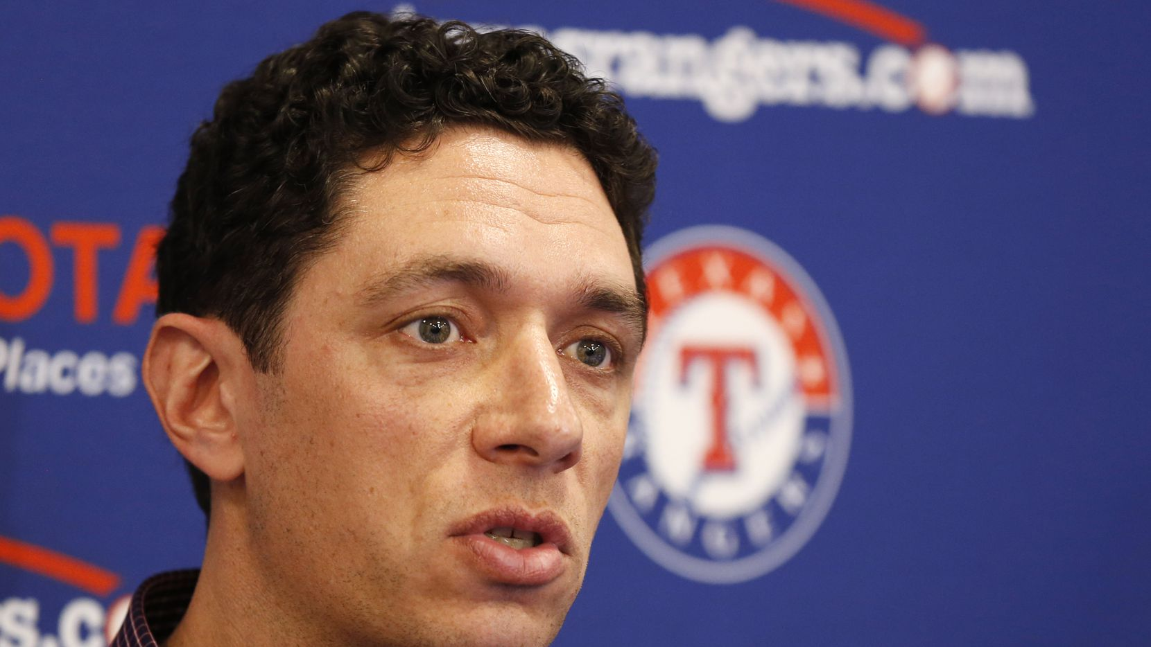 Texas Rangers general manager Jon Daniels answers questions during a press conference at Mercy Street Sports Complex in Dallas on Wednesday, January 15, 2020.