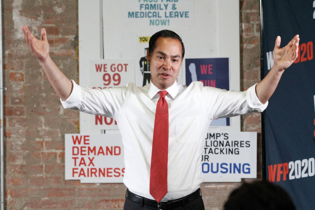 Democratic presidential hopeful Secretary Julian Castro talked to Texas Working Families Party members during a candidate forum at the Village Bridge Center in Dallas on, Aug. 15.