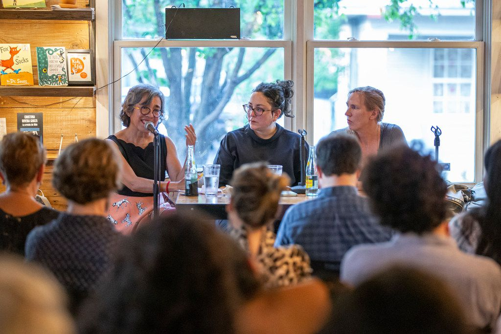 Attendees listen as authors Cristina Rivera Garza (left), Leni Zumas (center) and Miriam Toews speak at Wild Detectives on Saturday, Sept. 7, 2019.