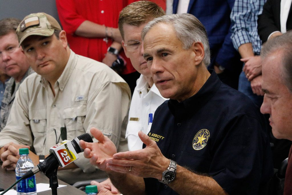 Texas Gov. Greg Abbott talks to his newly created GovernorÕs Commission to Rebuild Texas committee as Sen. Ted Cruz , left, and John Sharp, right listen at the Victoria College Emerging Technology Complex on Sept. 08, 2017 in Victoria, Tx. He created it after Hurricane Harvey.  Texas Gov. Greg Abbott appointed John Sharp, the chancellor of Texas A&M University, to oversee the rebuilding of state coastal communities following Hurricane Harvey.