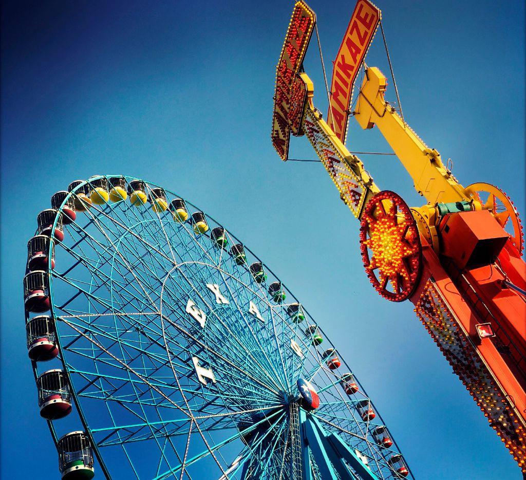 Fairgoers ride the Texas Star ferris wheel during the State Fair of Texas at Fair Park in Dallas.