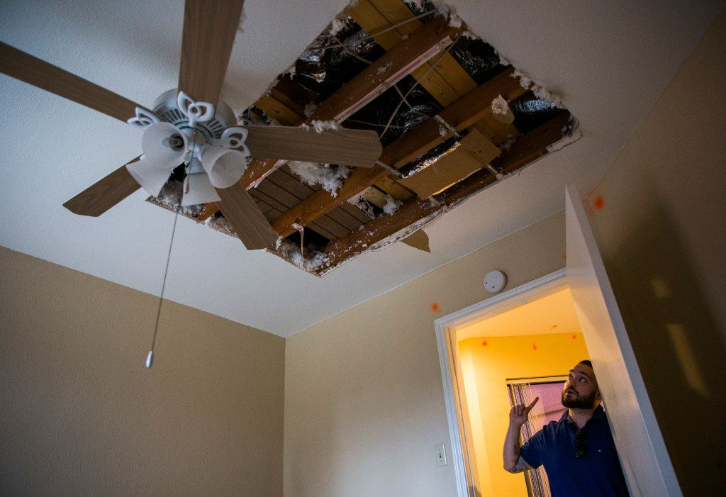 Alex Vega describes how the ceiling fell in inside his daughter, Trinity's room on Kelso Lane in Garland. The Vegas have been living in a trailer since March, while they wait for an insurance mediator's ruling.