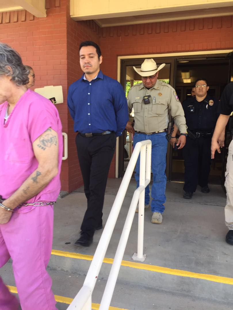 Chris Estrada (center in blue shirt) was sentenced Friday, July, 12, 2019, to 3 1/2 years in prison in the Zuzu Verk case.