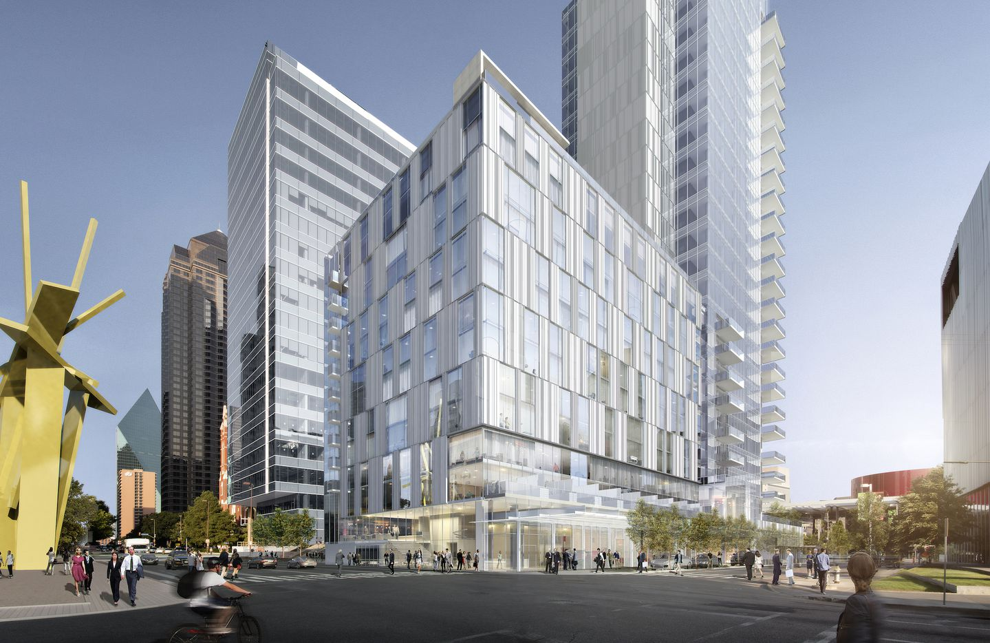 Developer Craig Hall's planned Arts District high-rise will include a hotel on the Ross Avenue side.