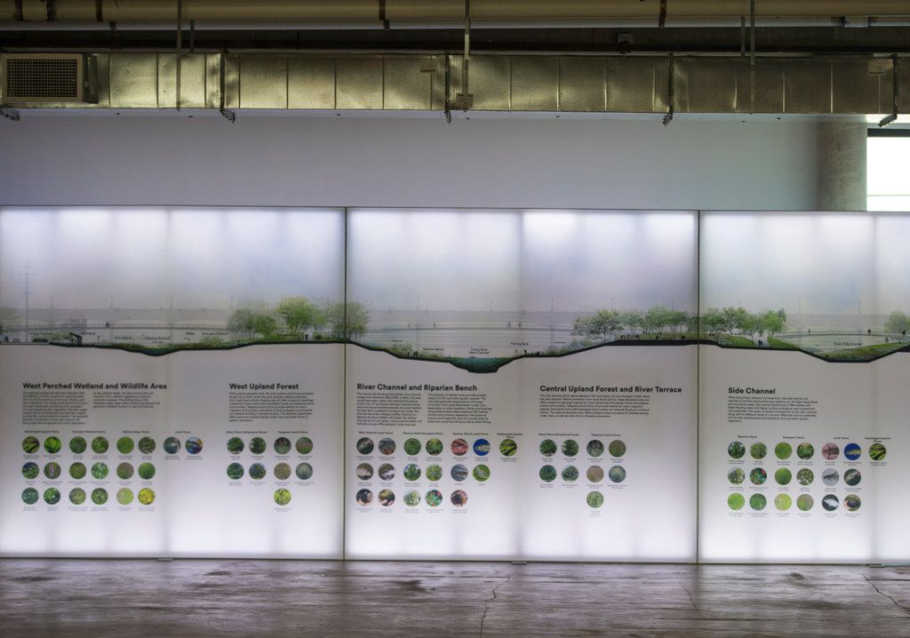 Portions of illuminated wall plans for a park inside the Trinity River levees are seen in a display at GoodWork (a shared co-working space) on Tuesday, Dec. 4, 2018 in Dallas.