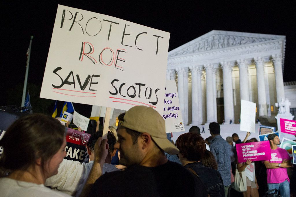 Demonstrators gathered in front of the Supreme Court in Washington after President Donald Trump announced Judge Brett Kavanaugh as his Supreme Court nominee. Worried by the prospect of a reconfigured court, abortion-rights advocates have intensified efforts to ensure access to abortion for women who might be affected by a new wave of bans and restrictions.
