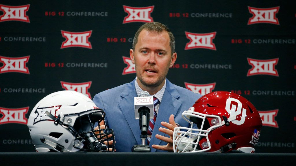 FILE - Oklahoma head coach Lincoln Riley speaks during a Big 12 Media Day press conference at The Star in Frisco on Monday, July 16, 2018. (Jae S. Lee/The Dallas Morning News)