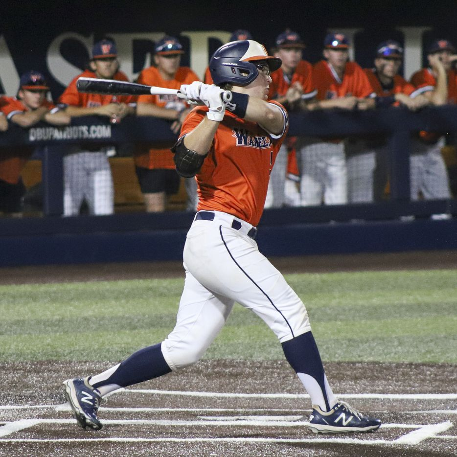Frisco Wakeland catcher Blake Morrow (5) swings for a pitch during game two of the UIL baseball 5A Region II final series against Hallsville at Horner Ballpark in Dallas on Friday, June 4, 2021. (Elias Valverde II / Special Contributor)