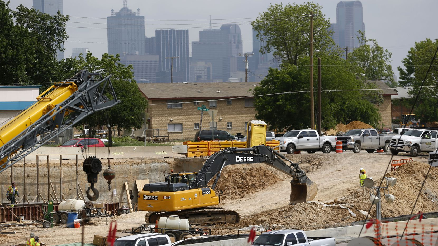 Construction continues along I-35E near Marsalis Avenue, one phase of the Southern Gateway highway project.