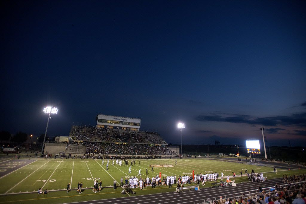 An overall view of a high school football game between DeSoto and Denton Guyer at Eagle Stadium in DeSoto, Texas, Friday, September 2, 2016. (Jeffrey McWhorter/Special Contributor)