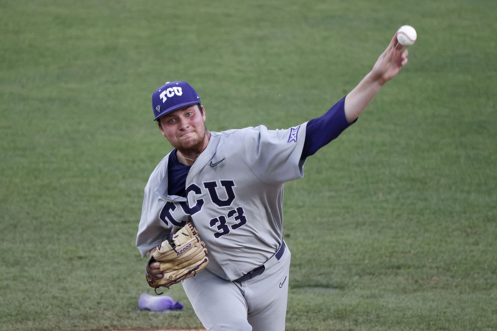 TCU pitcher Russell Smith (33) pitches against the DBU during the second inning of the NCAA Division I Baseball Championships in Fort Worth on June 5, 2021. (Michael Ainsworth/Special Contributor)