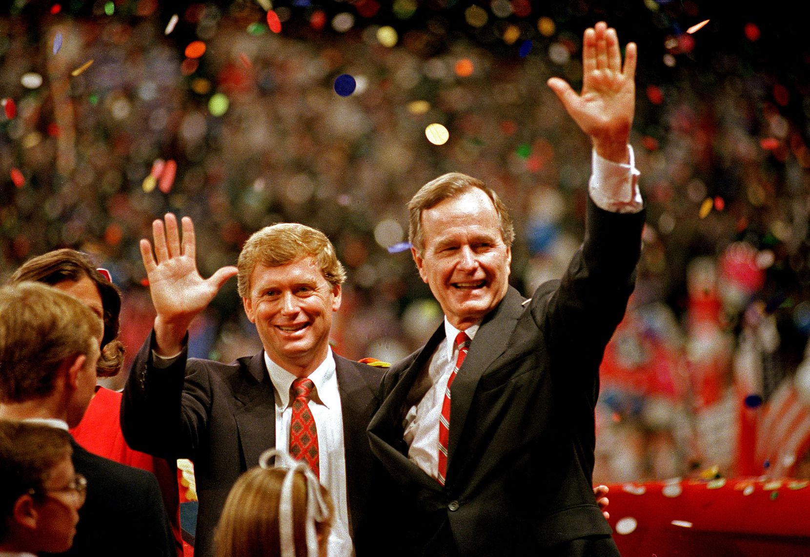 Bush and his vice presidential running mate, Sen. Dan Quayle, R-Ind., celebrated after Bush's nomination for president at the Republican National Convention in New Orleans in August 1988.