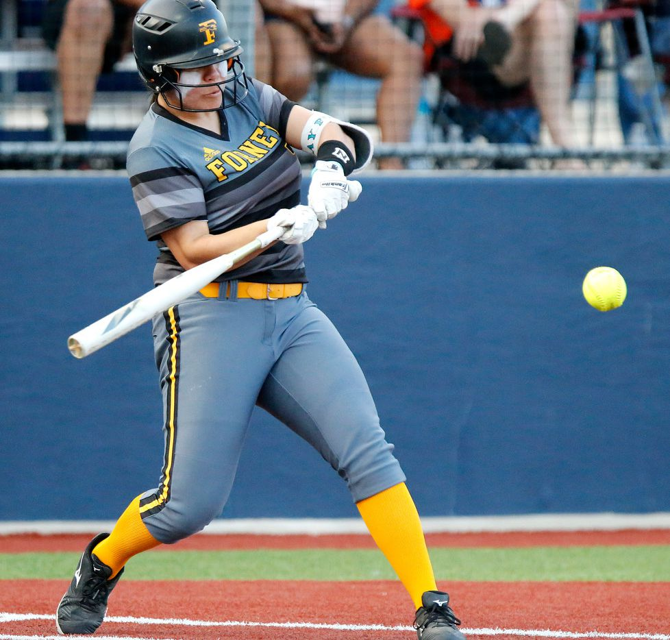 Forney's Trinity Cannon makes contact in the second inning of a 13-2 win over McKinney North in Game 2 of a best-of-3 Class 5A Region II semifinal series.  (Stewart F. House/Special Contributor)