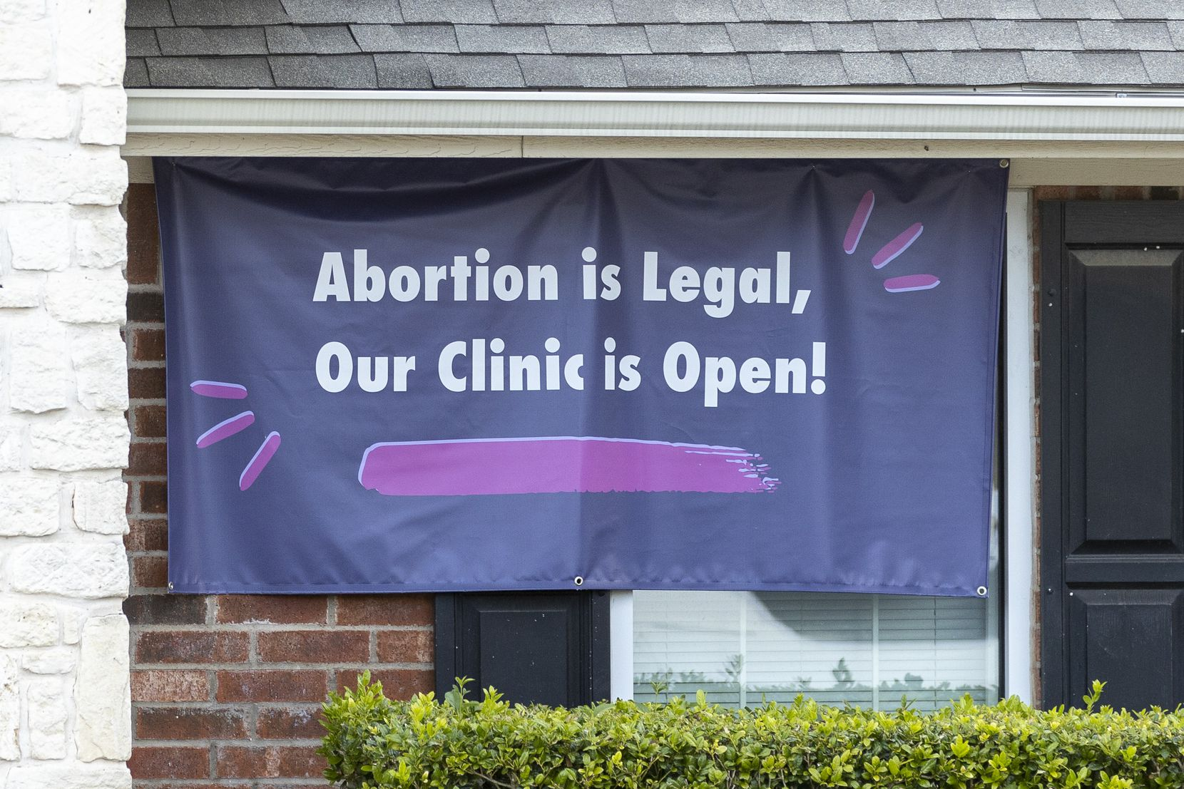 A sign at the Whole Woman's Health Clinic in Fort Worth last Wednesday, the day that Senate Bill 8 went into effect in Texas.