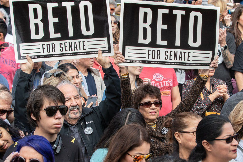 Supporters Rep. Beto O'Rourke attend his last public event in Austin before election night at the Pan American Neighborhood Park on November 4, 2018.
