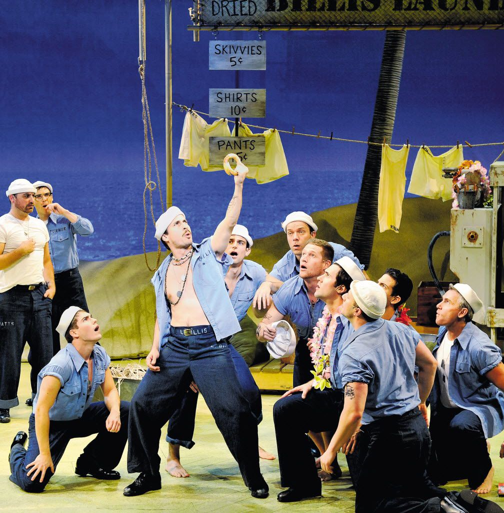 Matthew Saldivar as Luther Billis performs with the Seabees of South Pacific,  which played at the Winspear Opera House Dec. 15, 2009-Jan. 3, 2010, with sets designed by Michael Yeargan.