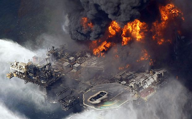 BP's Deepwater Horizon oil platform burns in the Gulf of Mexico on April 21, 2010.