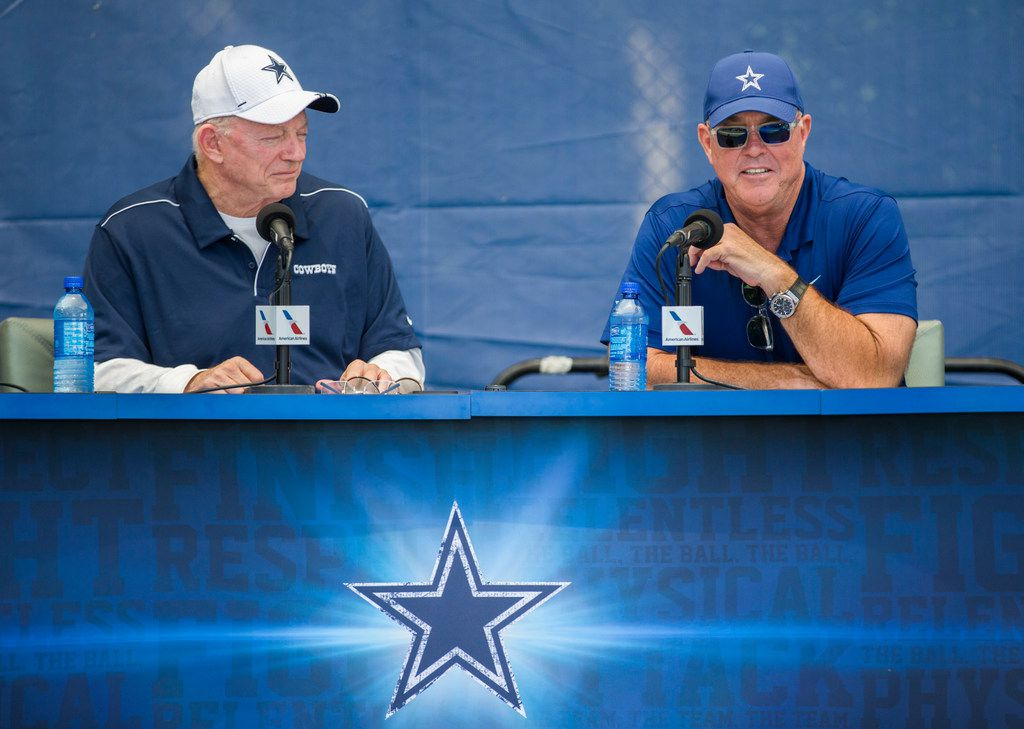 Dallas Cowboys Owner Jerry Jones and Executive Vice President and CEO Stephen Jones speak to reporters during an opening press conference at training camp in Oxnard, California on Friday, July 26, 2019. (Ashley Landis/The Dallas Morning News)