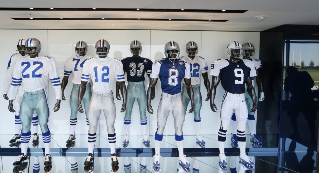 All the uniforms of the Dallas Cowboys players at the Dallas Cowboys new headquarters at The Star in Frisco on Sunday, August 21, 2016. The Star, is a joint project with the City of Frisco, and Frisco ISD. (Vernon Bryant/The Dallas Morning News)
