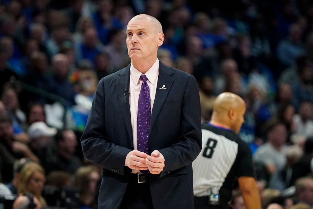 Dallas Mavericks head coach Rick Carlisle calss for a timeout during the first half of an NBA basketball game against the Denver Nuggets at American Airlines Center on Wednesday, Jan. 8, 2020, in Dallas.