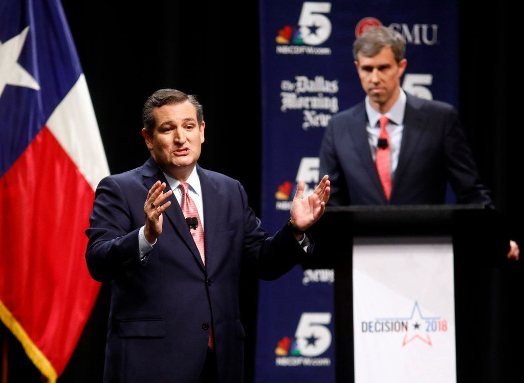 Sen. Ted Cruz makes his final remarks as Rep. Beto O'Rourke listens during a debate at McFarlin Auditorium at SMU on September 21, 2018.