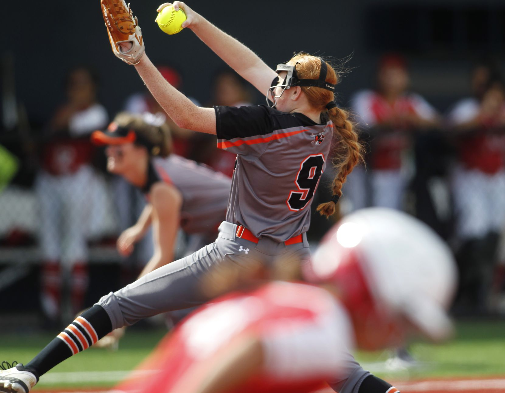 Rockwall pitcher Ainsley Pemberton (9) delivers a pitch to a Converse Judson batter during the bottom of the 4th inning of play. The two teams played their UIL 6A state softball semifinal game at Leander Glenn High School in Leander on June 4, 2021. (Steve Hamm/ Special Contributor)