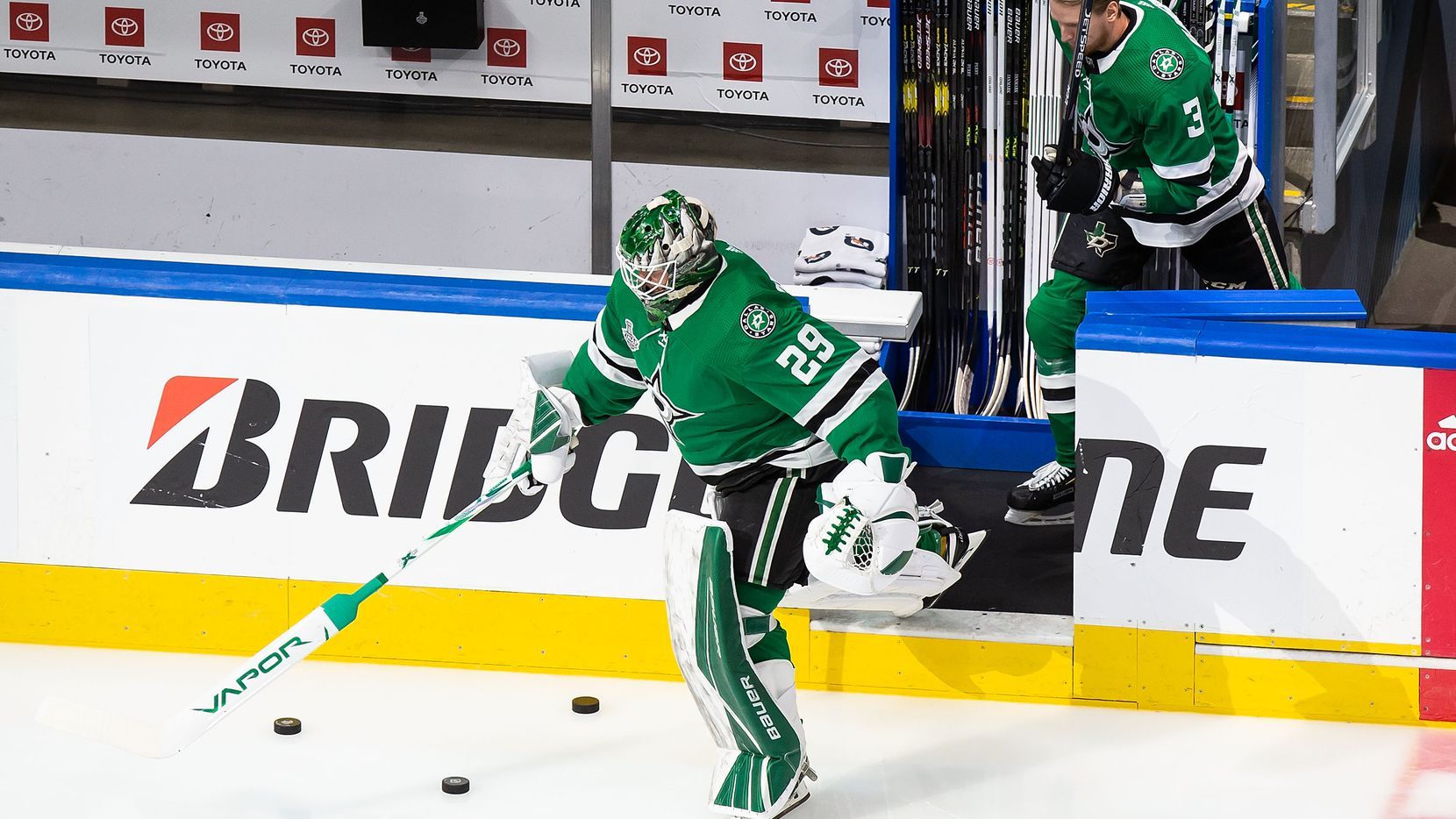 FILE - Stars goaltender Jake Oettinger (29) warms up during Game 4 of the Stanley Cup Final against the Lightning at Rogers Place in Edmonton, Alberta, Canada, on Friday, Sept. 25, 2020.