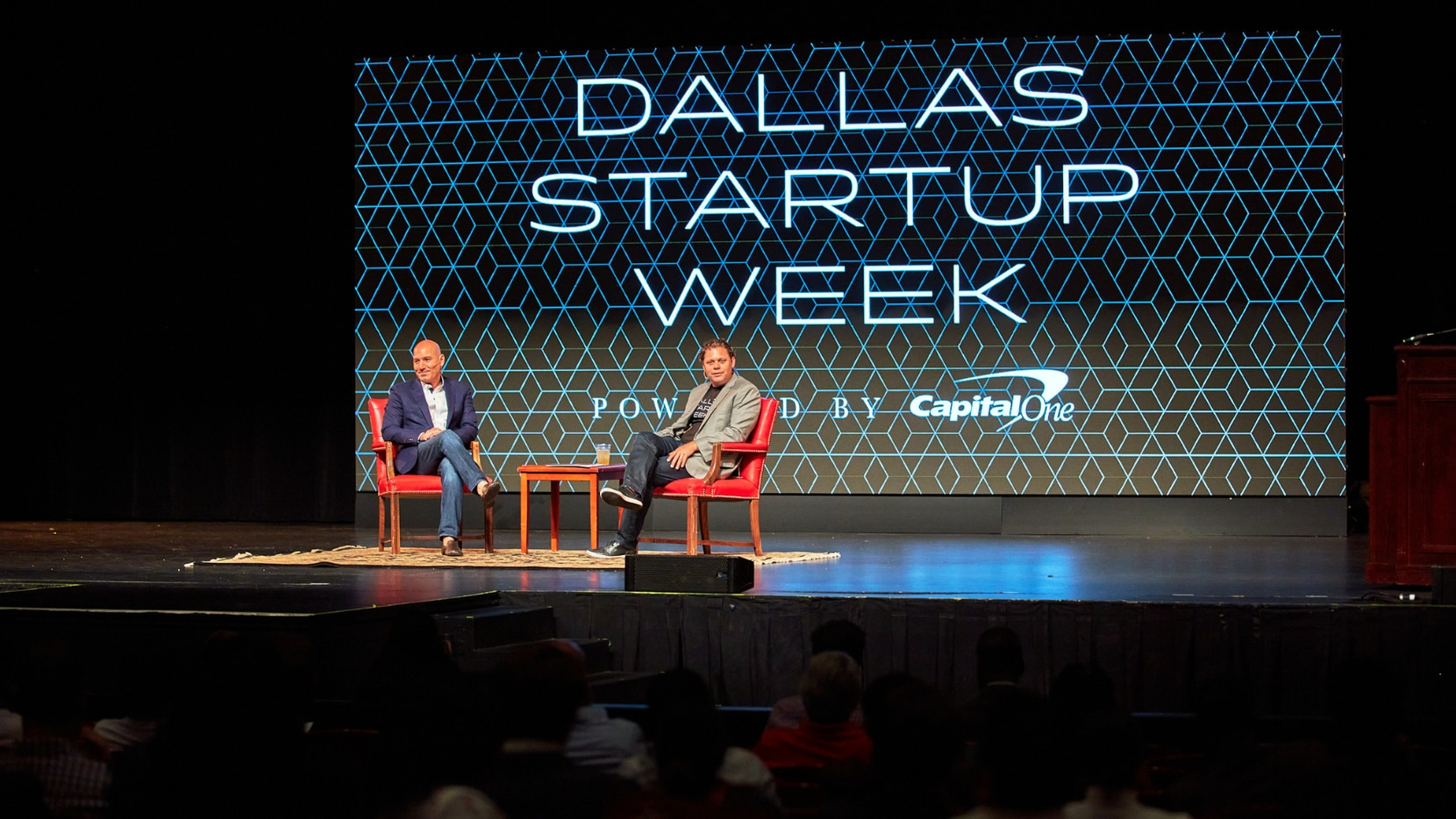 This year's Dallas Startup Week took place virtually and in person at Southern Methodist University's Cox School of Business. Abe Minkara, pictured on left, was the event's keynote speaker. Minkara is the founding partner of Legacy Knight, an investment firm providing tailored advisory services to high-net-worth families and family offices.