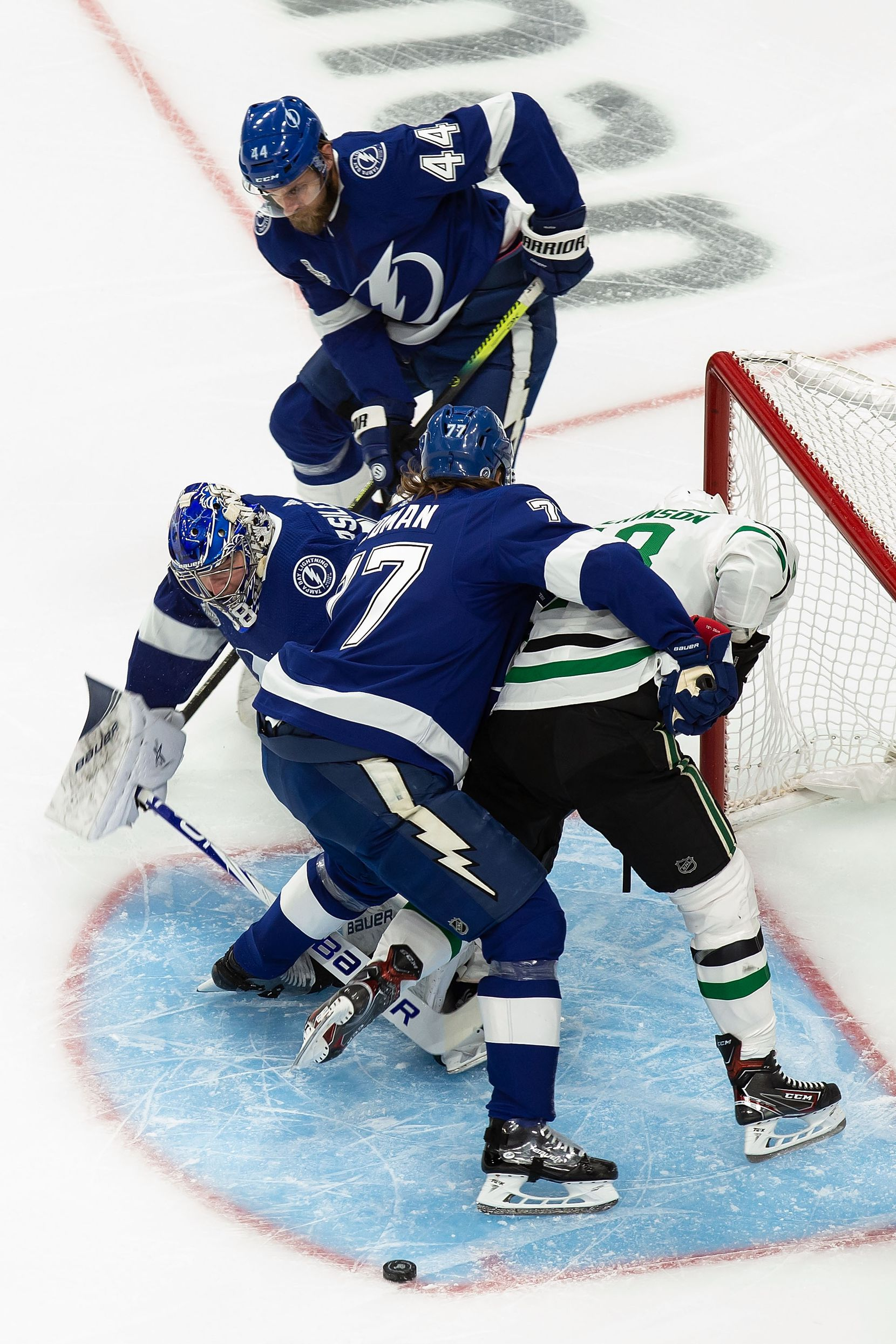 Jason Dickinson (18) of the Dallas Stars can't get past goaltender Andrei Vasilevskiy (88) of the Tampa Bay Lightning during Game Two of the Stanley Cup Final at Rogers Place in Edmonton, Alberta, Canada on Monday, September 21, 2020. (Codie McLachlan/Special Contributor)