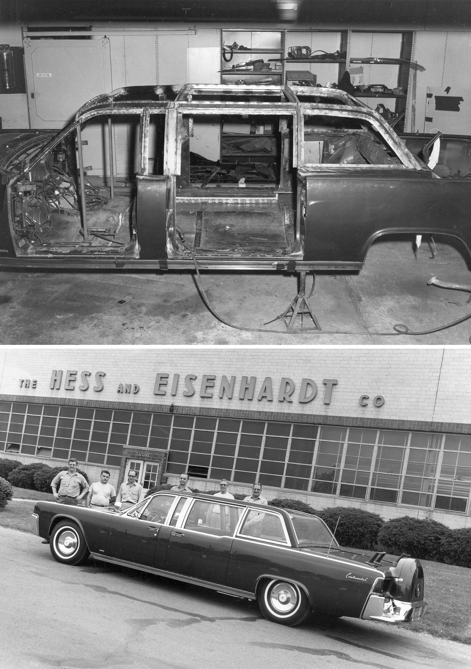"""The limousine that John F. Kennedy was assassinated in on a trip to Dallas was sent back to Ford and partner Hess & Eisenhardt to rebuild and improve its safety and design. The project started around Dec. 1963 and was dubbed the """"Quick Fix."""" These photos show the process and the rebuilt car on display in front of Hess & Eisenhardt's headquarters in Cincinnati, Ohio before it was sent back to the White House."""