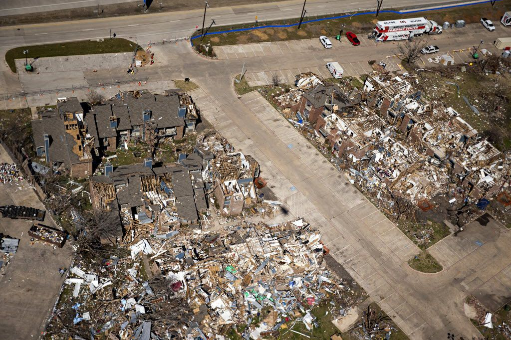 An aerial photograph taken in February 2016  shows remnants of tornado damage to the Landmark at Lake Village West apartments in Garland.