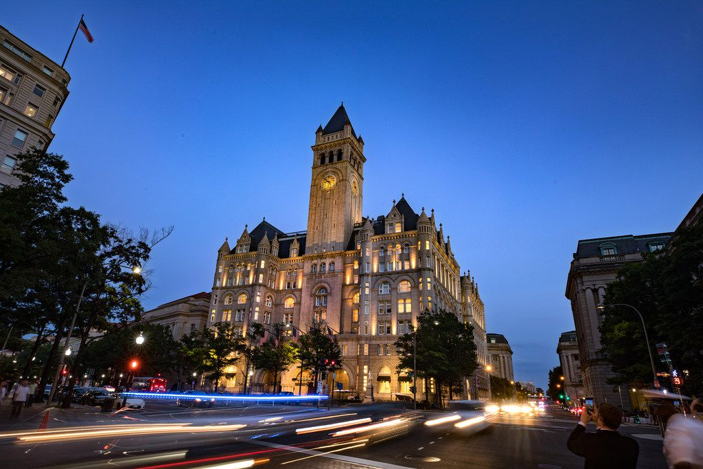 Trump International Hotel in Washington is just down the street from the White House. (Evelyn Hockstein/For The Washington Post)