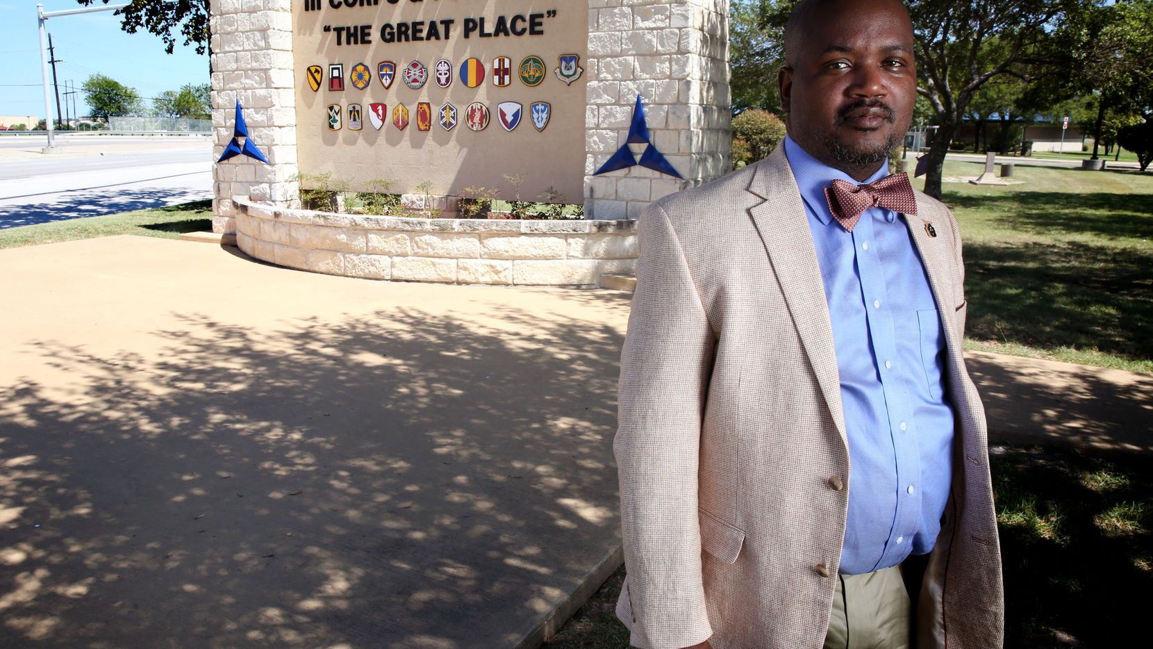 Riakos Adams, a former secretary of the Killeen chapter of the NAACP, poses for a photograph outside the Fort Hood U.S. military post in Fort Hood, Texas on Tuesday, Aug. 22, 2017. Some, including Adams, say Fort Hood, one of the largest military bases in the world and a garrison named in honor of Confederate Gen. John Bell Hood, should be renamed. (Rose Baca/The Dallas Morning News)